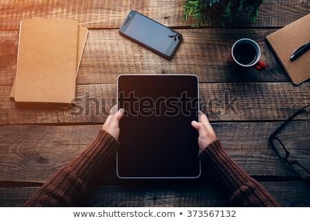 kezek · tart · tabletta · nő · digitális · fehér - stock fotó © cherezoff