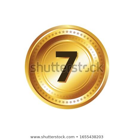 Aantal vector goud web icon knop Stockfoto © rizwanali3d