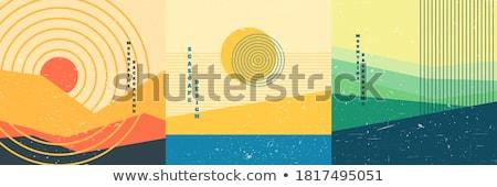 görüş · dizayn · uzun · gölgeler · mavi · kırmızı - stok fotoğraf © tashatuvango