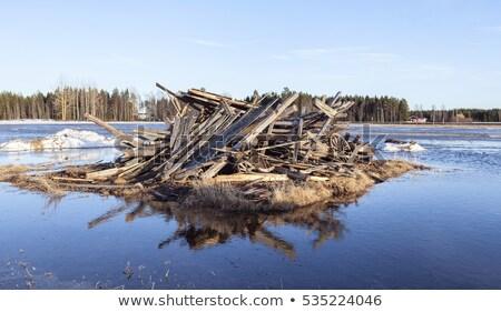 破壊された 木製 家 冬 風景 古い ストックフォト © Kotenko