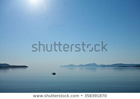утра туман Греция пейзаж морем горные Сток-фото © jeancliclac