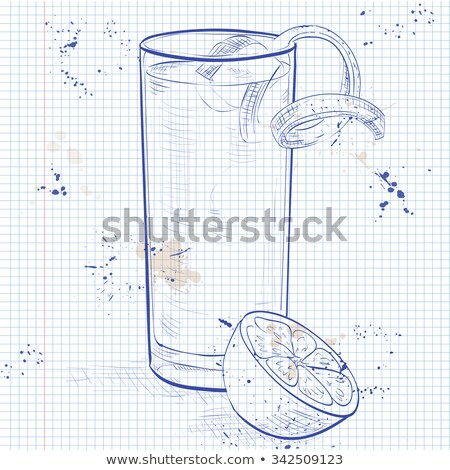Gin Fizz cocktail on a notebook page Stock photo © netkov1