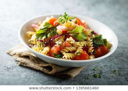 Tészta saláta makaróni paradicsom pesztó ebéd Stock fotó © Digifoodstock