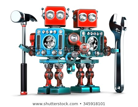 Robot workers with tools. Isolated. Contains clipping path Stock photo © Kirill_M