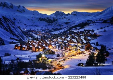 Stock photo: Ski resort in clouds