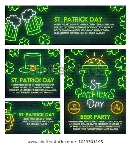 St Patricks Day Neon Banners Stock photo © Voysla