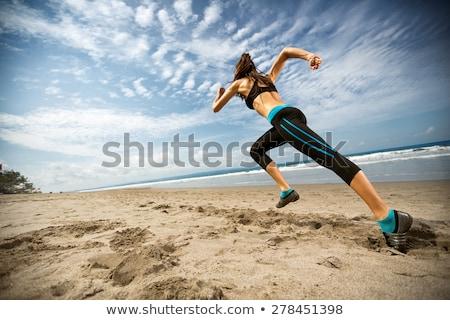 Stok fotoğraf: Uygunluk · plaj · genç · güzel · bir · kadın · deniz · kadın