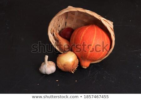 Alho pequeno cesta madeira vida planta Foto stock © mady70