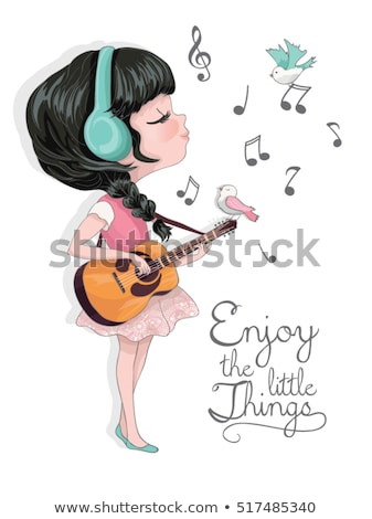 sevimli · kız · gitar · park · müzik · yüz - stok fotoğraf © runzelkorn
