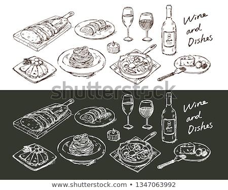 verre · bouteille · icône · craie · dessinés · à · la · main - photo stock © rastudio