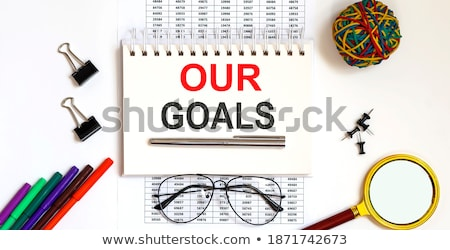 teamwork word and office tools on wooden table stock photo © fuzzbones0
