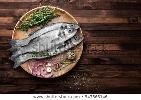 Tenger basszus étel hal citrom egészséges Stock fotó © yelenayemchuk