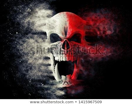 ホラー 頭蓋骨 赤 顔 ファッション 芸術 ストックフォト © doomko