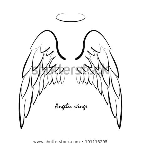Anioł pływające nieba ilustracja chmury świetle Zdjęcia stock © bluering