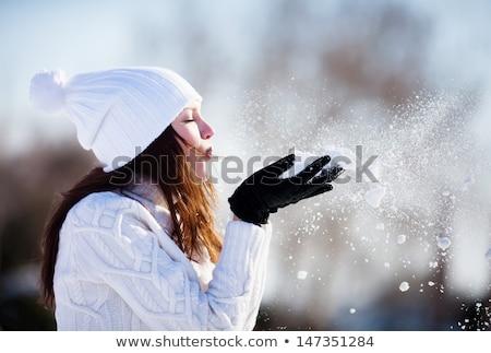 inverno · encanto · bela · mulher · decorado · flocos · de · neve · olhando - foto stock © nobilior
