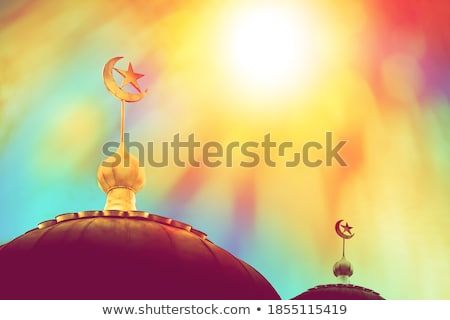 Colorful mosaic design - Mosque and Crescent moon, red color Stock photo © kkunz2010