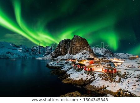 Norte luzes lago Finlândia belo aurora Foto stock © Juhku