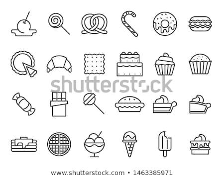 Gelei pudding lijn icon vector geïsoleerd Stockfoto © RAStudio