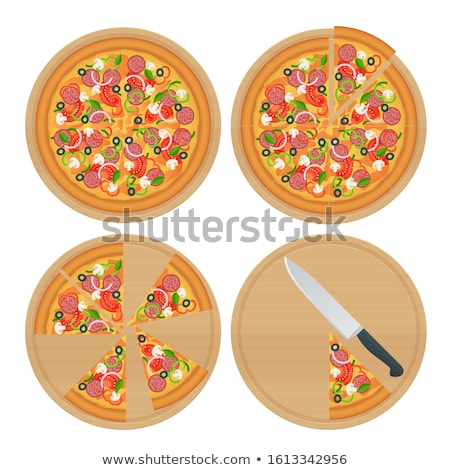 Italian delicious hot pizza on wooden plate, on white table Stock photo © Yatsenko