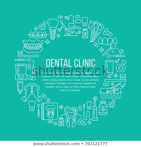 dentiste · médicaux · bannière · vecteur · ligne · icône - photo stock © Nadiinko