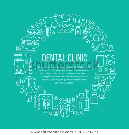 Dentist, orthodontics medical banner with vector line icon of dental care equipment, braces, tooth p Stock photo © Nadiinko