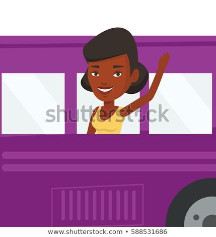 Foto stock: Africano · americano · mulher · mão · desenho · animado · vetor