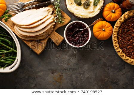 Overhead Shot of Delicious Roasted Thanksgiving Turkey with Knif Stock photo © StephanieFrey