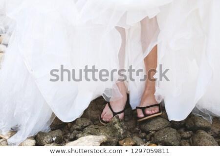 低い セクション 花嫁 ウェディングドレス サンダル 立って ストックフォト © wavebreak_media