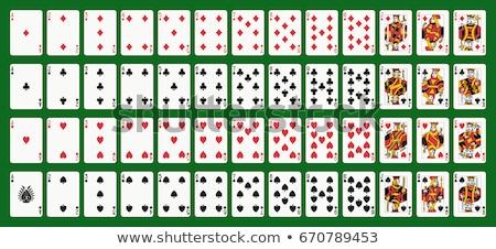 Fekete kártyapakli fehér szimbólumok szív gyémánt Stock fotó © blackmoon979