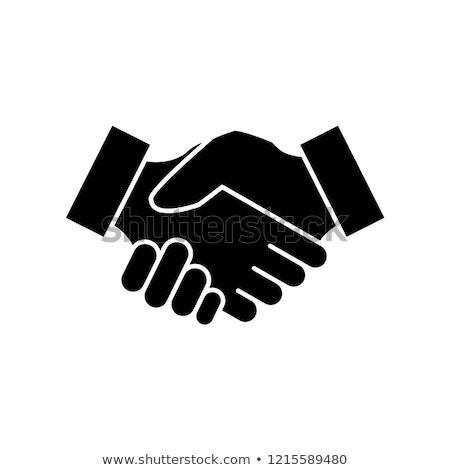 Foto stock: Apretón · de · manos · sólido · icono · negocios · contrato · acuerdo