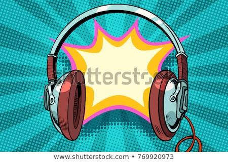 Cuffie fumetto bolla audio pop art retro Foto d'archivio © studiostoks