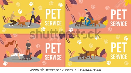 Dog Walking Service Vector. Pet Care. Exercising Dogs In Park. Isolated Flat Cartoon Character Illus Stock photo © pikepicture