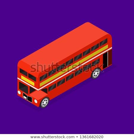 isometrica · illustrazione · rosso · bus · vettore · 3D - foto d'archivio © studioworkstock