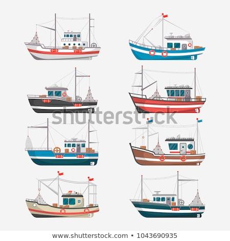 Vintage рыбалки лодках изолированный коммерческих Сток-фото © studioworkstock