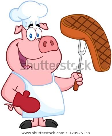 şef domuz karikatür maskot karakter pişmiş Stok fotoğraf © hittoon