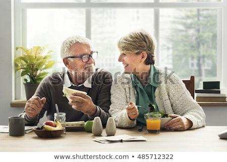ストックフォト: カップル · 座って · 朝食 · 表