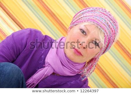 Közelkép szőke nő színes fejkendő mosolyog citromsárga Stock fotó © feedough