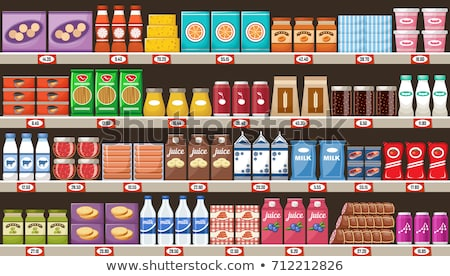 Alimentare store shelf completo prodotto seppia Foto d'archivio © simply