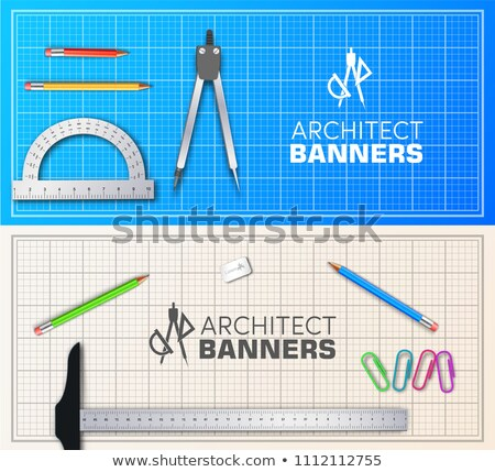 Architect wood table banners project with professional equipment background. Vector illustration des Stock photo © Linetale