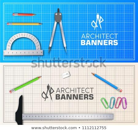architecte · table · en · bois · bannières · projet · professionnels · équipement - photo stock © Linetale