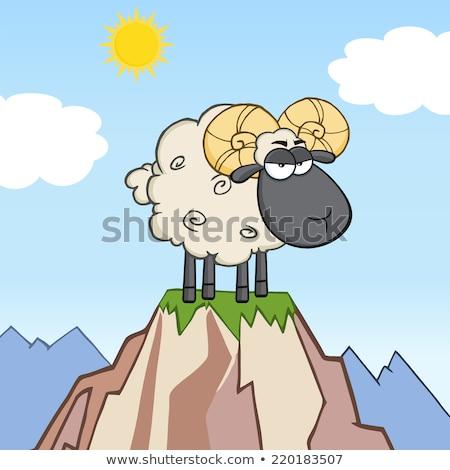 Smutne cartoon baran ilustracja patrząc Zdjęcia stock © cthoman