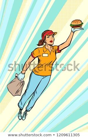ウエートレス ハンバーガー ファストフード 配信 飛行 スーパーヒーロー ストックフォト © studiostoks