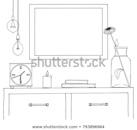 Sketch of the interior. Table, bedside table, shelf with various interior items. Stock photo © Arkadivna