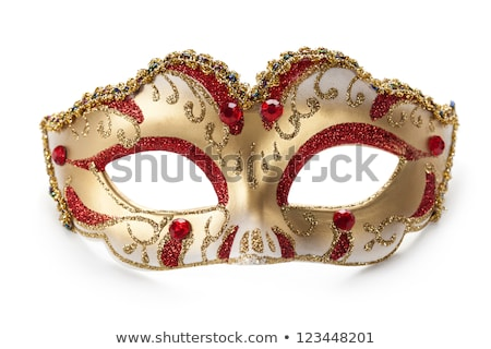 Yellow and white carnival mask on red background. Stock photo © Illia