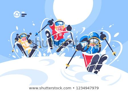 menino · menina · esqui · criança · arte · inverno - foto stock © jossdiim