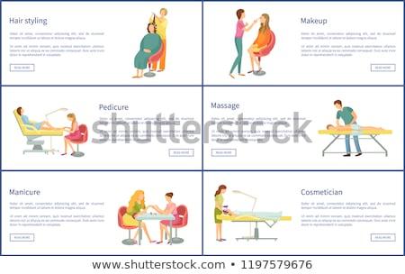 Smink ábrázat hajviselet plakátok szett vektor Stock fotó © robuart