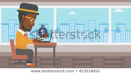 ストックフォト: 手 · お金 · 外に · ノートパソコン · 孤立した · 白