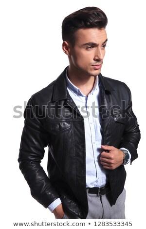 Portré kíváncsi üzletember bőrdzseki néz oldal Stock fotó © feedough
