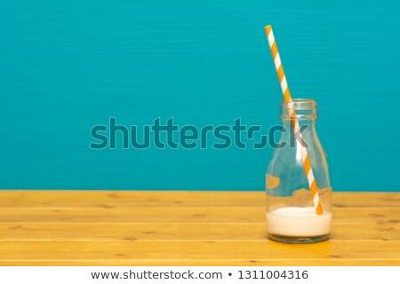 ガラス ボトル ミルク 紙 わら パイント ストックフォト © sarahdoow
