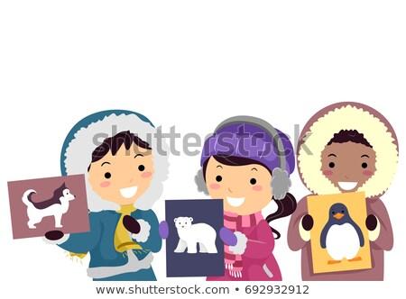 Gyerekek sarkköri állatok villanás kártya színes Stock fotó © lenm